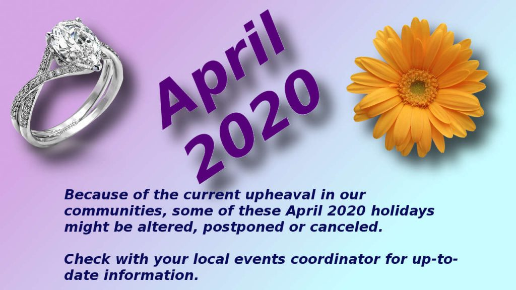 April 2020 Holidays